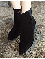 Women's Shoes Suede Chunky Heel Pointed Toe Boots Casual Black / Khaki