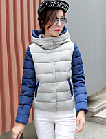 Women's Patchwork Blue / Red / White / Gray Parka Coat , Vintage / Casual Hooded Long Sleeve