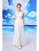 mantel / kolumn formell aftonklänning - vita golv längd juvel chiffong / spets