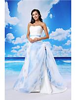una línea de vestidos de noche formal - blanco de encaje cariño tribunal tren / organza / satinado