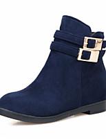 Zapatos de mujer - Tacón Bajo - Punta Redonda - Botas - Casual - Ante - Negro / Azul / Bermellón