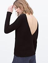 Женский Средняя На каждый день Женский Пуловер , Длинный рукав , Смесь хлопка / Полиуретановая