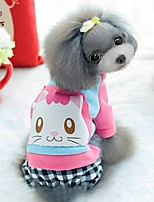FUN OF PETS® Cute Cartoon Cat Pattern Jumpsuit Dog Clothes for Pets Dogs (Assorted Sizes and Colours)