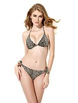 Feminino Nadador,Tanquini Animal decote Profundo Retro Com Laço Leopardo