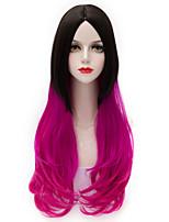 deux tons gradient noir rouge longue lâche Harajuku ondulée u partie de cheveux purecas lolita femmes vogue Party Girl perruque