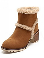 Women's Shoes  Chunky Heel Fashion Boots / Round Toe Boots Outdoor / Casual Black / Brown / Beige