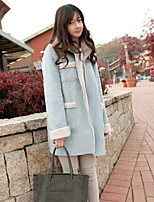 Women's Patchwork Blue Coat , Casual Long Sleeve Cotton Blends