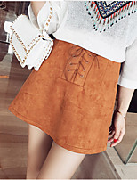 Women's Solid Brown Skirts , Casual Mini