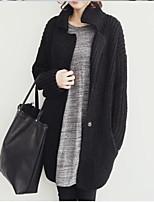Women's Solid Black / Gray Cardigan , Casual Sleeveless