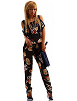 Women's Print Multi-color Jumpsuits , Sexy / Casual Strap Short Sleeve