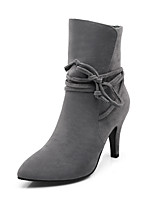Women's Shoes Fleece Fashion Boots / Pointed Toe Boots Party & Evening / Dress / Casual Stiletto Heel Lace-up