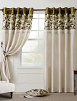 Room Darkening Faux Silk with Pleated Band Printing lined Curtain (Two Panel)