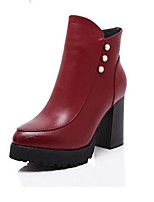 Women's Shoes Chunky Heel Round Toe Boots Casual Black / Red