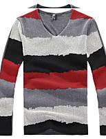 Katoen - Gestreept - Heren - T-shirt - Informeel - Lange mouw