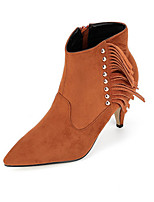 Women's Shoes Suede Stiletto Heel Pointed Toe Boots Casual Black / Brown