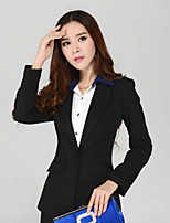 Women's Solid Black Blazer , Work Shawl Lapel Long Sleeve