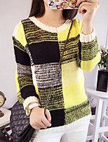 Women's Prerry Style Color Block Loose Pullover , Casual / Cute Long Sleeve