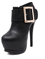 Chaussures Femme - Mariage / Habillé / Décontracté - Noir / Blanc - Talon Aiguille - Bottine - Bottes - Cuir