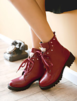 Women's Shoes Leatherette Low Heel Combat Boots / Office & Career / Casual Black / Blue / Red / Beige