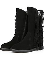 Damesschoenen - Formeel / Casual - Zwart - Sleehak - Ronde neus / Modieuze laarzen - Laarzen - Leer