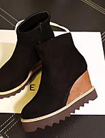 Women's Shoes Fleece Wedge Heel Wedges Boots Casual Black / Brown