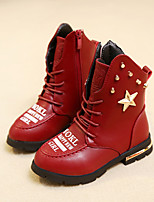 Girls' Shoes Dress / Casual Fashion Boots / Combat Boots Leatherette Boots Black / Red / Burgundy