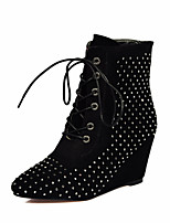 Women's Shoes Fleece Wedge Heel Fashion Boots Boots Party & Evening / Dress / Casual Black / Brown / Red