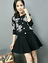 Women's Print Pink / Red / Black Dress , Casual Long Sleeve