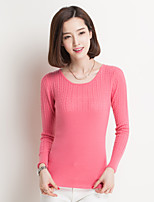 Women's Striped / Solid Blue / Pink / Black / Almond Pullover , Casual Long Sleeve