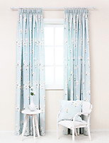 Two Panels Poly Cotton  Floral Print Curtain