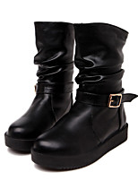 Women's Shoes Leatherette Flat Heel Fashion Boots Flats / Boots Outdoor / Casual Black / White
