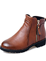Women's Shoes Chunky Heel Bootie / Comfort / Round Toe Boots Casual Black / Brown / Gray