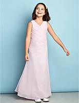 Enkellengte Doek Junior bruidsmeisjesjurk - Blozend Roze Schede / Kolom V-hals