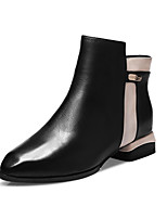 Women's Shoes Leather Chunky Heel Fashion Boots Boots Office & Career / Dress / Casual Black / Red