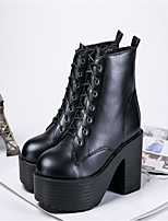 Women's Shoes Chunky Heel Round Toe Boots Casual Black / Orange