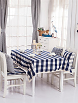 Blue Plaid Lacy Design  Jacquard  Tablecloths Fabric Tea Tablecloth