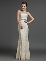 Formal Evening Dress - Champagne Sheath/Column Strapless Floor-length Lace