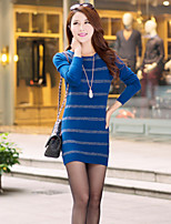 Women's Striped / Solid Blue / Red / Black Dress , Sexy / Casual Long Sleeve