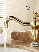 Contemporary Ti-PVD Finish Bathroom Sink Faucet (Waterfall)