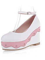 Women's Shoes Platform Comfort / Round Toe Heels Outdoor / Office & Career / Dress / Casual Green / Pink / White