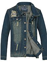Men's Vintage Pure Long Sleeve Jacket ,  Casual / Plus Sizes  Hole Slim Lapel Cotton / Denim