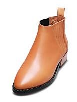 Damenschuhe - Stiefel - Büro / Lässig - Leder - Niedriger Absatz - Komfort / Spitzschuh / Modische Stiefel / Kappe - Schwarz / Gelb