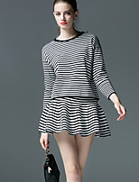 Women's Striped Red / Black Set , Casual Long Sleeve