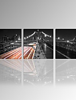 VISUAL STAR®Bridge Picture Printing 3 Panel Cityscape Gallery Wrapped Canvas Wall Art for Home Decor Ready to Hang