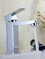 Square Waterfall Bathroom Sink Faucets Contemporary Chrome Finish Brass Basin Faucet