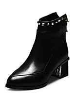 Women's Shoes Leather Chunky Heel Fashion Boots / Bootie / Pointed Toe Boots Office & Career / Dress / Casual Black