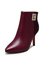 Chaussures Femme - Bureau & Travail / Décontracté / Soirée & Evénement - Noir / Bordeaux - Talon Aiguille -Bottine / Bout Pointu / Bottes