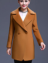 Women's Solid Pink / Yellow Coat , Casual Long Sleeve Wool Blends