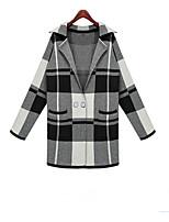 Women's Color Block Black Cardigan , Vintage / Casual Long Sleeve