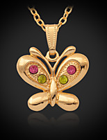 Instyle 18K Chunky Gold Plated Rhinestone Crystal Pendant Butterfly High Quality